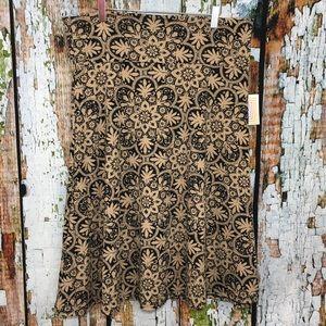 Lularoe Mandala Print Azure Skirt Black Tan