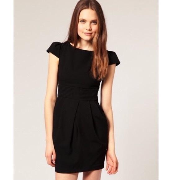 db35dced27 ASOS Black Tulip Dress Pleated Waist   Size 12