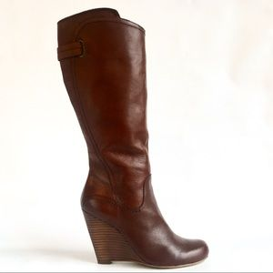 GUESS Wedge Tereza Cognac Leather Knee High Boots