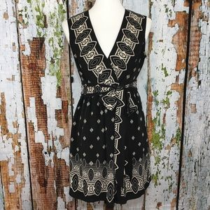 Anna Sui x Target Black Ikat Print Wrap Dress Silk