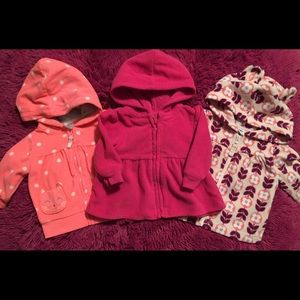Tri-bundle baby girl's fleece hoodie jackets