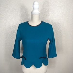 Milly Isadora Bow Wool Top Scallops