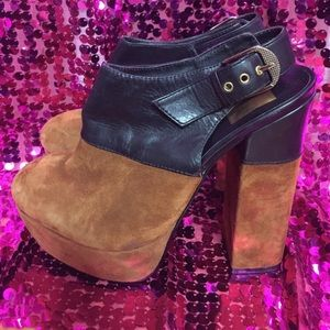 Dolce Vita Leather Suede High Heel Mules