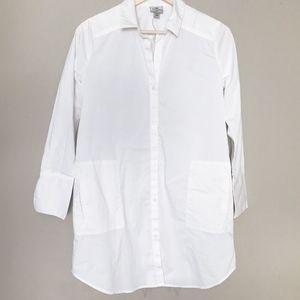 Worthington Tunic Blouse Small Pockets Button Down
