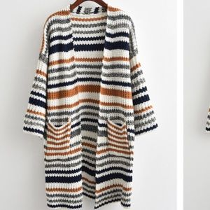 NWOT long striped cardigan