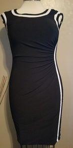 Chaps stretchy black & white dress