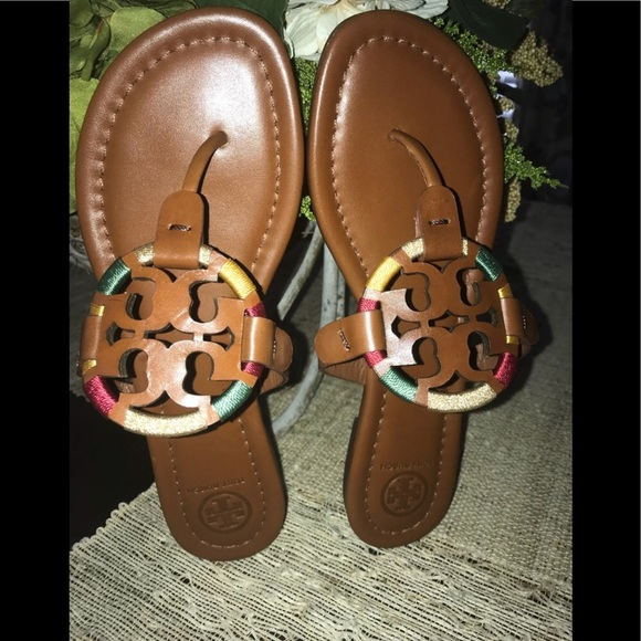 a6f09aabd Authentic Tory Burch Embroidered Miller Sandals