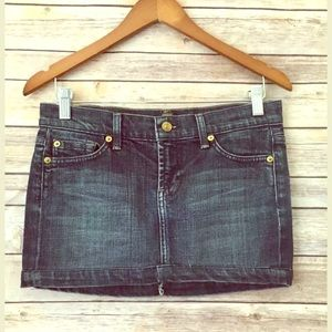 7 For All Mankind Denim Jean Mini Skirt Sz 26