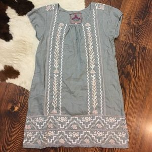 Johnny Was Embroidered Floral Gray Dress