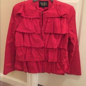 So cute Giancarlo Gerrari red ruffle jacket!!