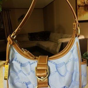 Chaps blue & tan hobo purse
