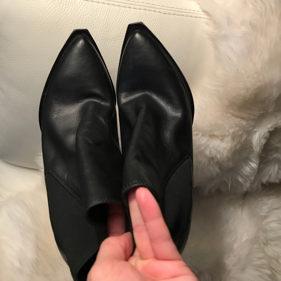 836b9aa2d4d Diesel black leather size 38/ 4 inch heel booties