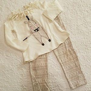 Mudpie 2 piece zebra outfit