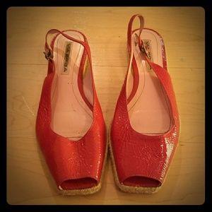 VIA SPIGA Pink Peep Toe Wedge Flats