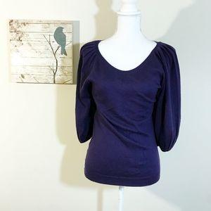Ann Taylor LOFT Purple Wool Lantern Sweater