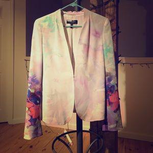 Escada silk floral abstract blazer