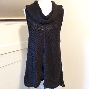 Pure Hand Knit Black Cowl Sweater Tank/Tunic