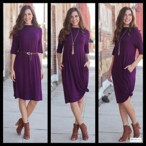 Dresses & Skirts - Plum Sheath Dress With Pockets