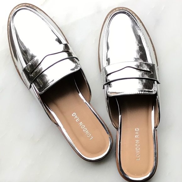 2257f54bae6 London Rag Silver Metallic Flat Loafer Mules 8