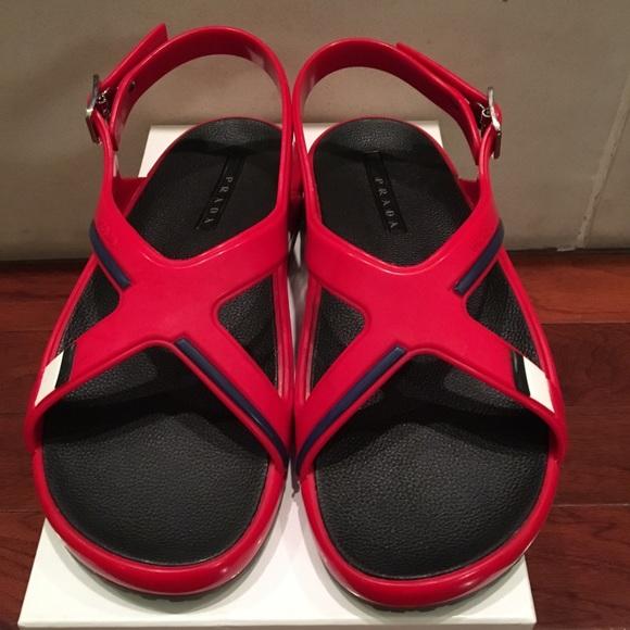 16d892d74 Prada Men s Crisscross Sandals Rubber Red and Blue