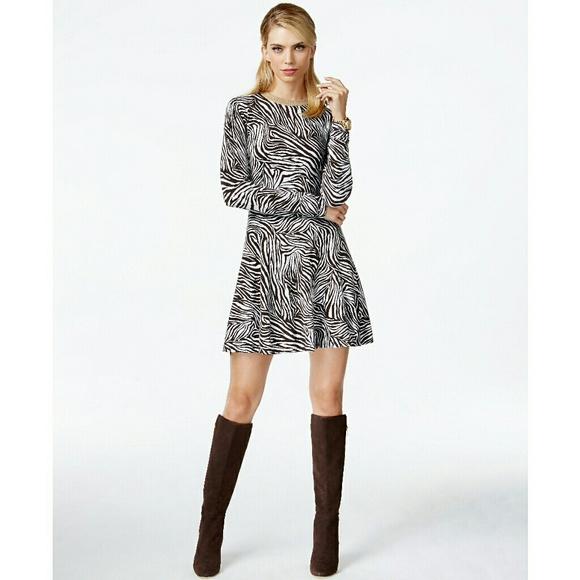 60b7f70198c1 MICHAEL KORS Zebra Print Sweater Dress