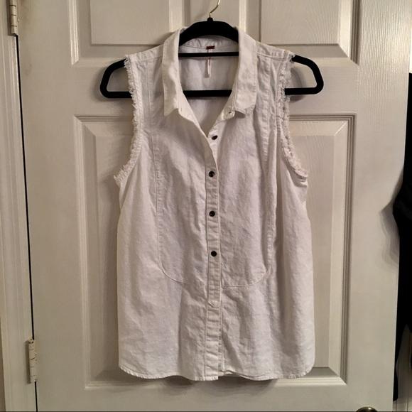 0a5b13507f326c Free people Jackets   Blazers - Free People Sleeveless white denim vest