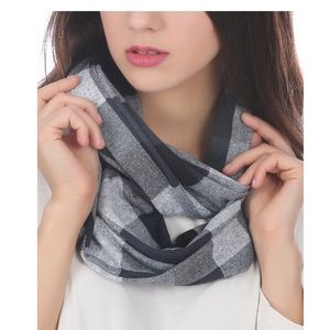 Gray Buffalo check Reversible Infinity Scarf