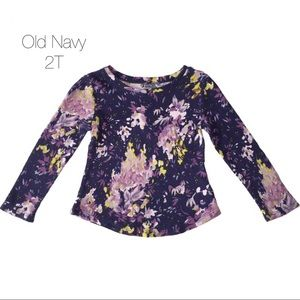 Old Navy Navy Purple Floral Thermal Top 2T