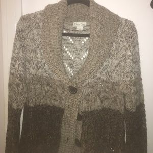 Kim Rogers Petite Cable Knit Buttoned Cardigan