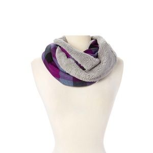 Purple & Gray Faux Fur-lined Infinity Scarf