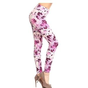 Pink & White Floral Leggings