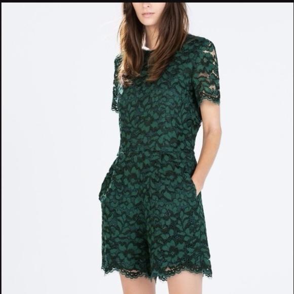 05eab5de64f Zara Emerald Green Lace Romper. M 5a051d5236d59498ac061472