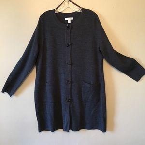 Charcoal gray Ellen Tracy cardigan size 2X