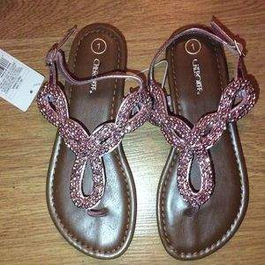Cherokee Shoes - Girls pink beaded sandals