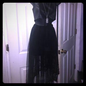 Hi-low sheer skirt