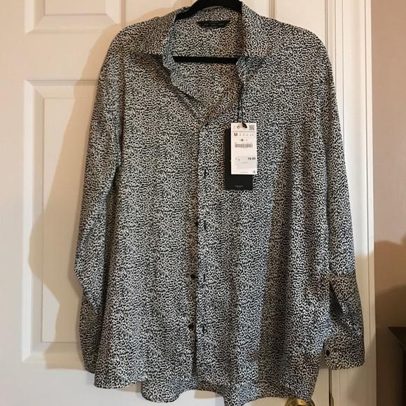 dcb57d12 Zara Shirts | Man Blackwhite Animal Print Shirt | Poshmark