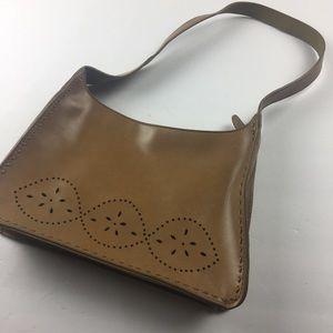 Mondani simulated leather shoulder bag purse brown