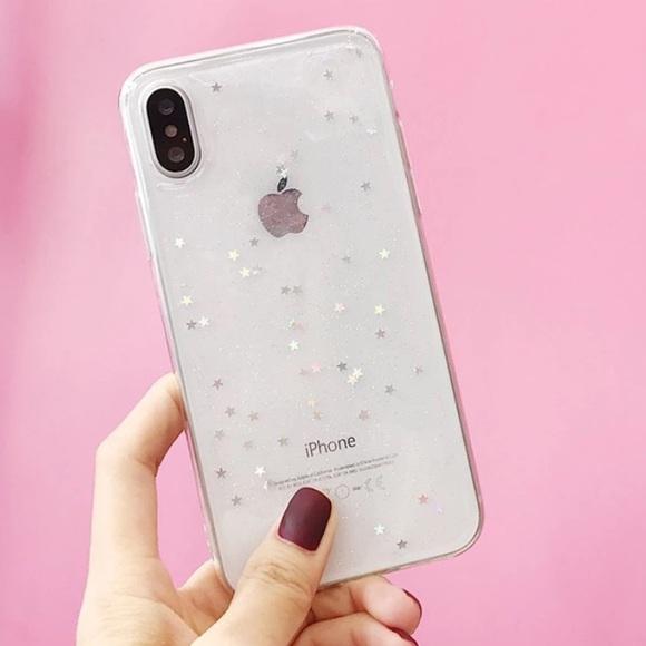 big sale ed9c8 4b9d5 LAST ONE iPhone X Case Silver Glitter Stars Clear