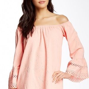 💗VaVa by Joy Han | Peach Pink Off Shoulder Dress