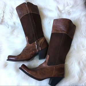 brown leather vintage riding boots