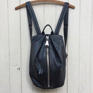 Aimee Kestenberg black leather zipper backpack