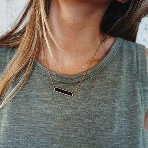 Henri Bendel//Black Crystal Bar Necklace