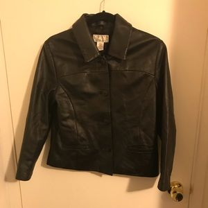 Lined blk leather coat sz s by Petite Sophisticate