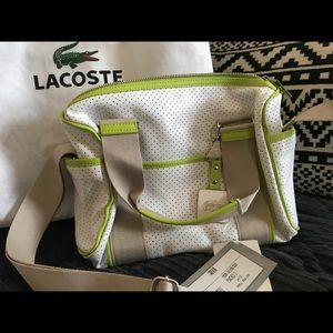"""White with green trim Lacoste """"bowling"""" bag"""