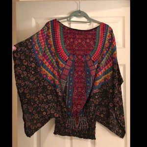 Anthropologie Feathers by Tolani Kimono Sleeve Top