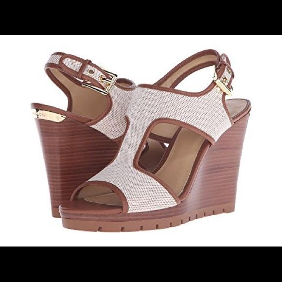 7fa38273a575 Michael Kors Gillian Wedge Sandals Size 10. M 5a052fcb620ff79c72068666