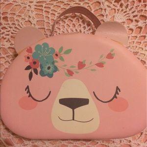 Handbags - Pink teddy bear shaped floral Lolita purse