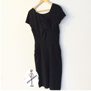 Alberta Ferretti Black Fitted Ruched Dress