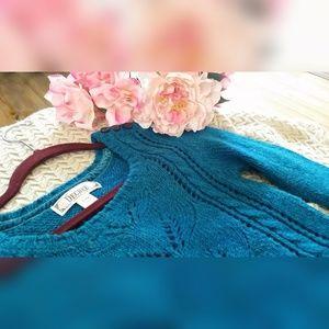 Decree Sweaters - Blue-Green Pointelle Knit Sweater