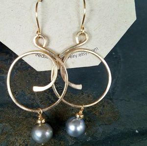 Jewelry - Tahitian pearl gold filled earrings silver